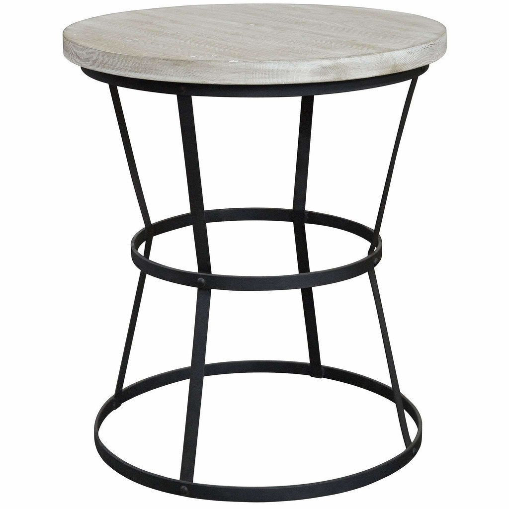 "CFC Brookfield Reclaimed Wood/Steel Side Table, Small, 26"" Round, Gray Wash-Side Tables-CFC-Heaven"