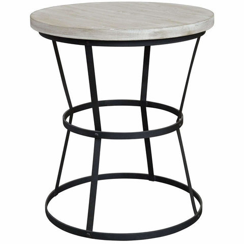 CFC Brookfield Reclaimed Wood/Steel Side Table, Small, 26