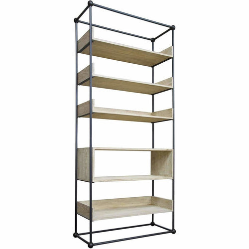 CFC Monte Open, Tall Bookcase, Steel, Reclaimed Lumber *Quick Ship*-Bookcases-CFC-Heaven's Gate Home