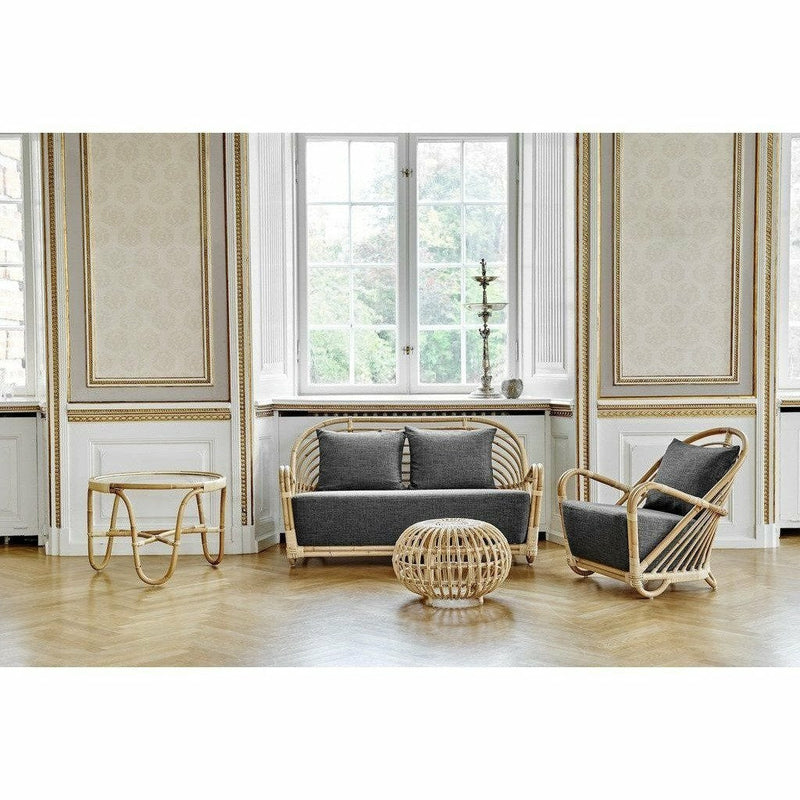 Sika-Design Icons Arne Jacobsen Charlottenborg Rattan 2-Seater Sofa, Indoor-Sofas-Sika Design-Natural-Sunbrella Sailcloth Shade Seat and Back Cushion-Heaven's Gate Home