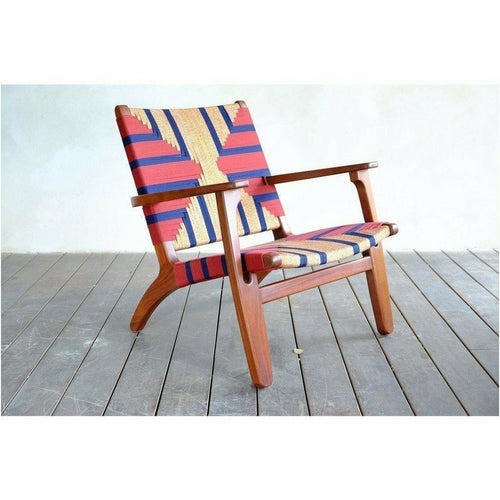 Masaya Arm Chair, Pattern Manila/Rosita Walnut-Lounge Chairs-Masaya & Co.-Momotombo Manila-Heaven's Gate Home, LLC