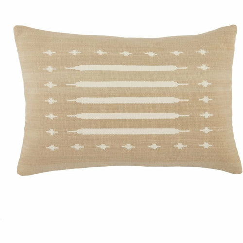 "Jaipur Living Ikenna Emani Taupe Handmade Pillow-Pillows-Jaipur Living-Taupe-16"" x 24""-Down-Heaven's Gate Home, LLC"