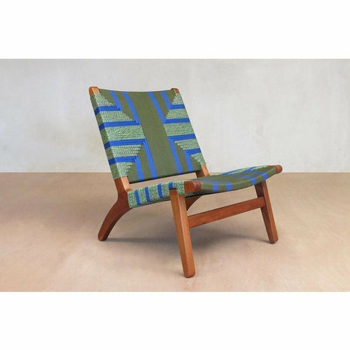 Masaya Lounge Chair, Emerald Coast Pattern-Lounge Chairs-Masaya & Co.-Teak-Heaven's Gate Home, LLC