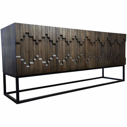 CFC Catherine Hand-Carved Buffet, Walnut & Steel, Light Shellac *Quick Ship*-Buffets-CFC-Heaven's Gate Home