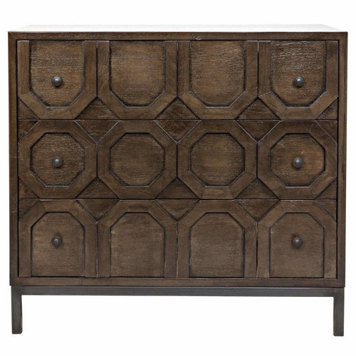 CFC Hadley 3-Drawer Walnut/Steel Dresser, Light Shellac *Quick Ship*-Dressers-CFC-Heaven's Gate Home