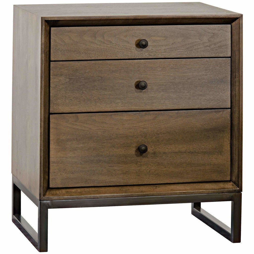 CFC Sansa 3-Drawer Side Table/Nightstand, Walnut, Light Shellac *Quick Ship*-Side Tables-CFC-Heaven