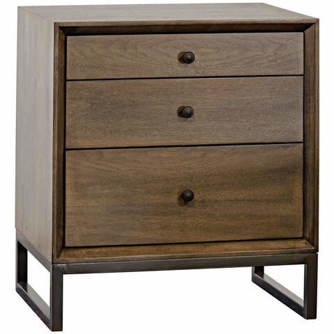 CFC Sansa 3-Drawer Side Table/Nightstand, Walnut, Light Shellac *Quick Ship*-Side Tables-CFC-Heaven's Gate Home