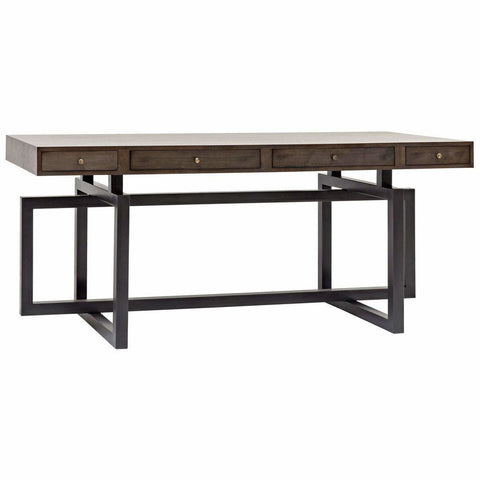 CFC Maddox 4-Drawer Desk, Walnut/Steel, Light Shellac *Quick Ship*-Desks-CFC-Heaven's Gate Home