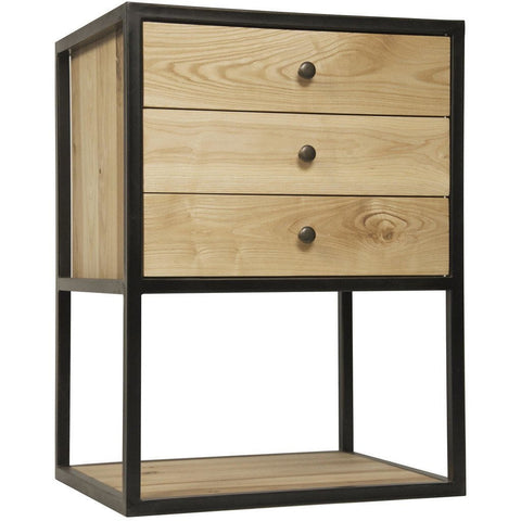 Noir Pearce Side Table/Nightstand, Elm and Black Metal Base-Nightstands-Noir Furniture-Heaven's Gate Home