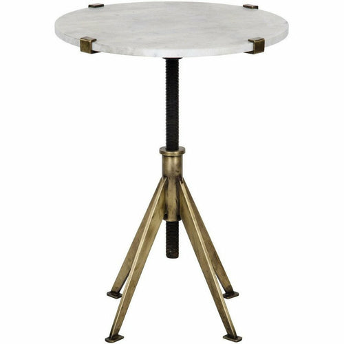 Noir Edith Adjustable Side Table, Small, Antique Brass, Metal and Quartz *Quick Ship*-Side Tables-Noir Furniture-Heaven's Gate Home