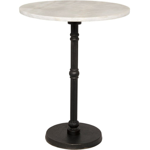 Nior Antonie Side Table, Cast Iron with White Stone Top