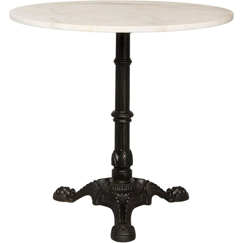 Nior Theresia Side Table, Cast Iron with White Stone Top