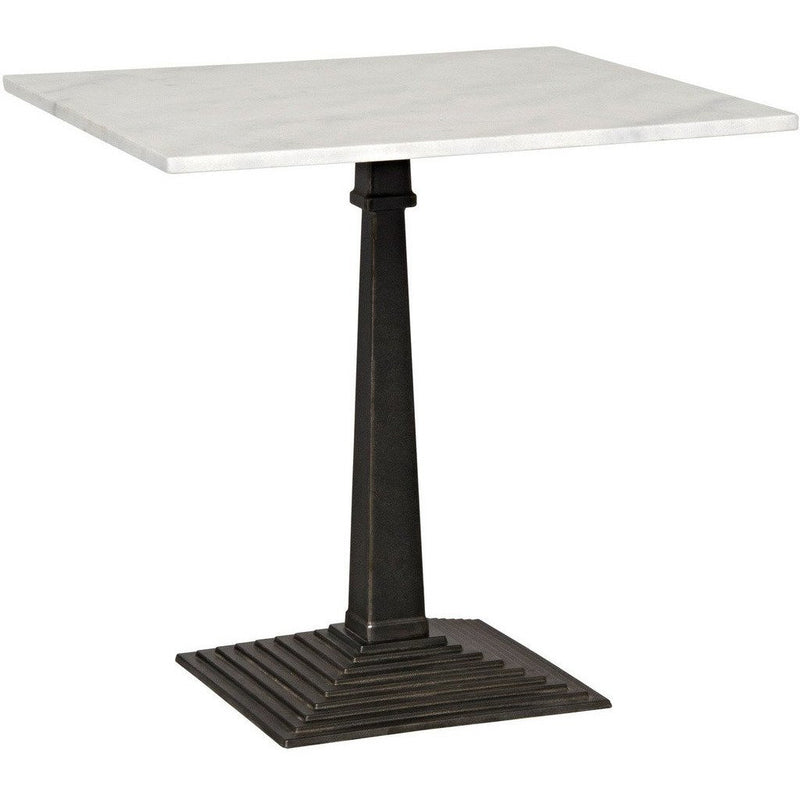 Noir Fadim Side Table, Black Metal with White Stone Top-Side Tables-Noir Furniture-Heaven's Gate Home