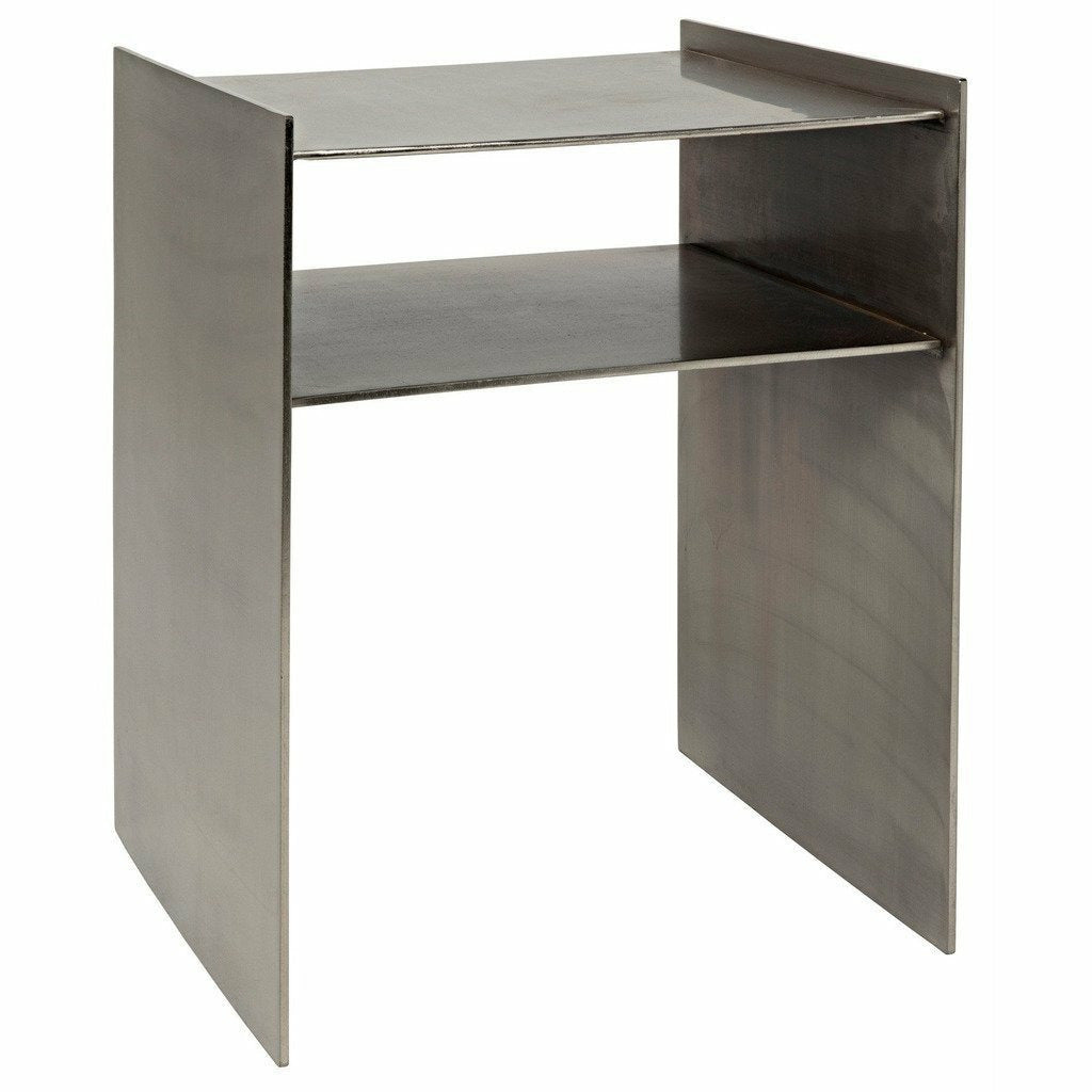 "Noir Cyrus Side/End Table, 16"" Antique Silver, Metal-Side Tables-Noir Furniture-Heaven's Gate Home"