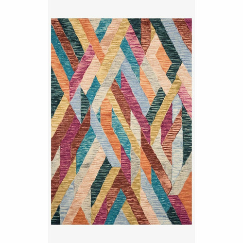 "Justina Blakeney x Loloi Hallu HAL-02 Contemporary Hooked Area Rug-Rugs-Justina Blakeney x Loloi-Multi-1'-6"" x 1'-6""-Heaven's Gate Home, LLC"