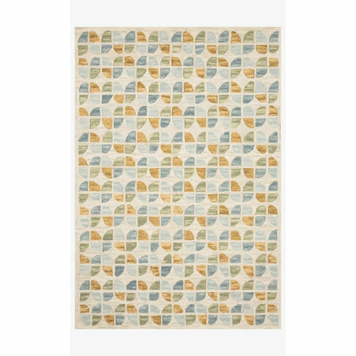 "Justina Blakeney x Loloi Hallu HAL-04 Contemporary Hooked Area Rug-Rugs-Justina Blakeney x Loloi-Blue-1'-6"" x 1'-6""-Heaven's Gate Home, LLC"