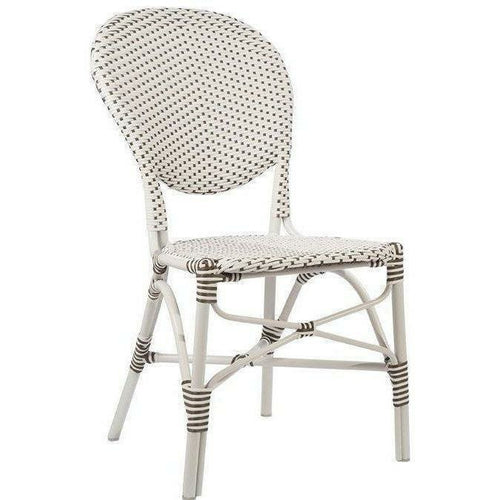 Sika-Design Alu Affaire Isabell Rattan Dining Side Chair, Outdoor-Dining Chairs-Sika Design-White / Cappuccino Dots-Heaven's Gate Home