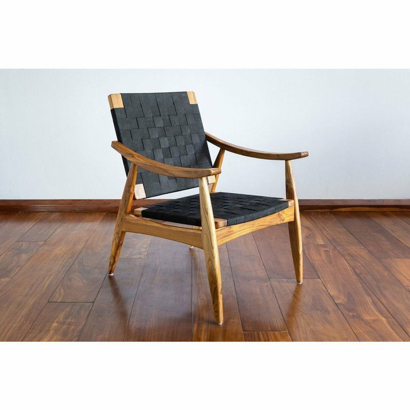 Masaya Izapa Arm Chair, Leather-Lounge Chairs-Masaya & Co.-Black Leather-Teak-Heaven's Gate Home, LLC