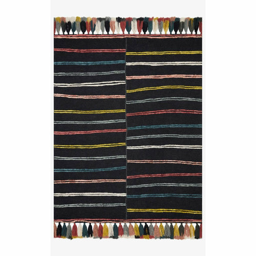 "Justina Blakeney x Loloi Jamila JAA-01 Contemporary Hooked Area Rug-Rugs-Justina Blakeney x Loloi-Charcoal-18"" x 18""-Heaven's Gate Home, LLC"