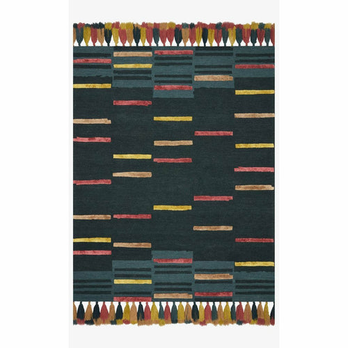 "Justina Blakeney x Loloi Jamila JAA-03 Contemporary Hooked Area Rug-Rugs-Justina Blakeney x Loloi-Teal-18"" x 18""-Heaven's Gate Home, LLC"