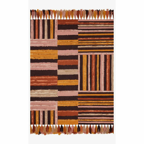 "Justina Blakeney x Loloi Jamila JAA-04 Contemporary Hooked Area Rug-Rugs-Justina Blakeney x Loloi-Terracotta-18"" x 18""-Heaven's Gate Home, LLC"