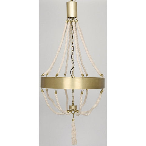 Noir Alec Chandelier, Antique Brass, Metal and Rope