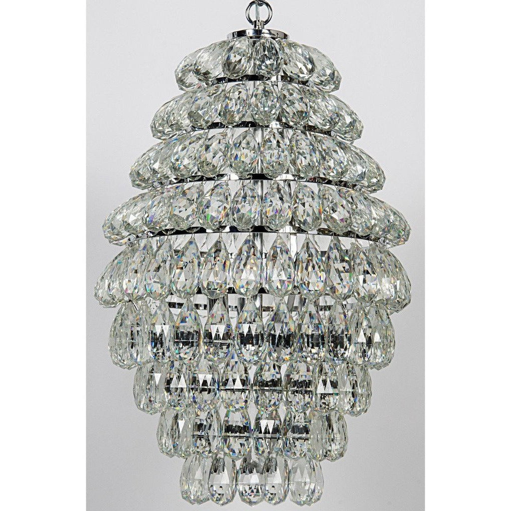Noir Illumination Chandelier/Lamp, Chrome Finish, Metal and Glass-Chandeliers-Noir Furniture-Heaven's Gate Home