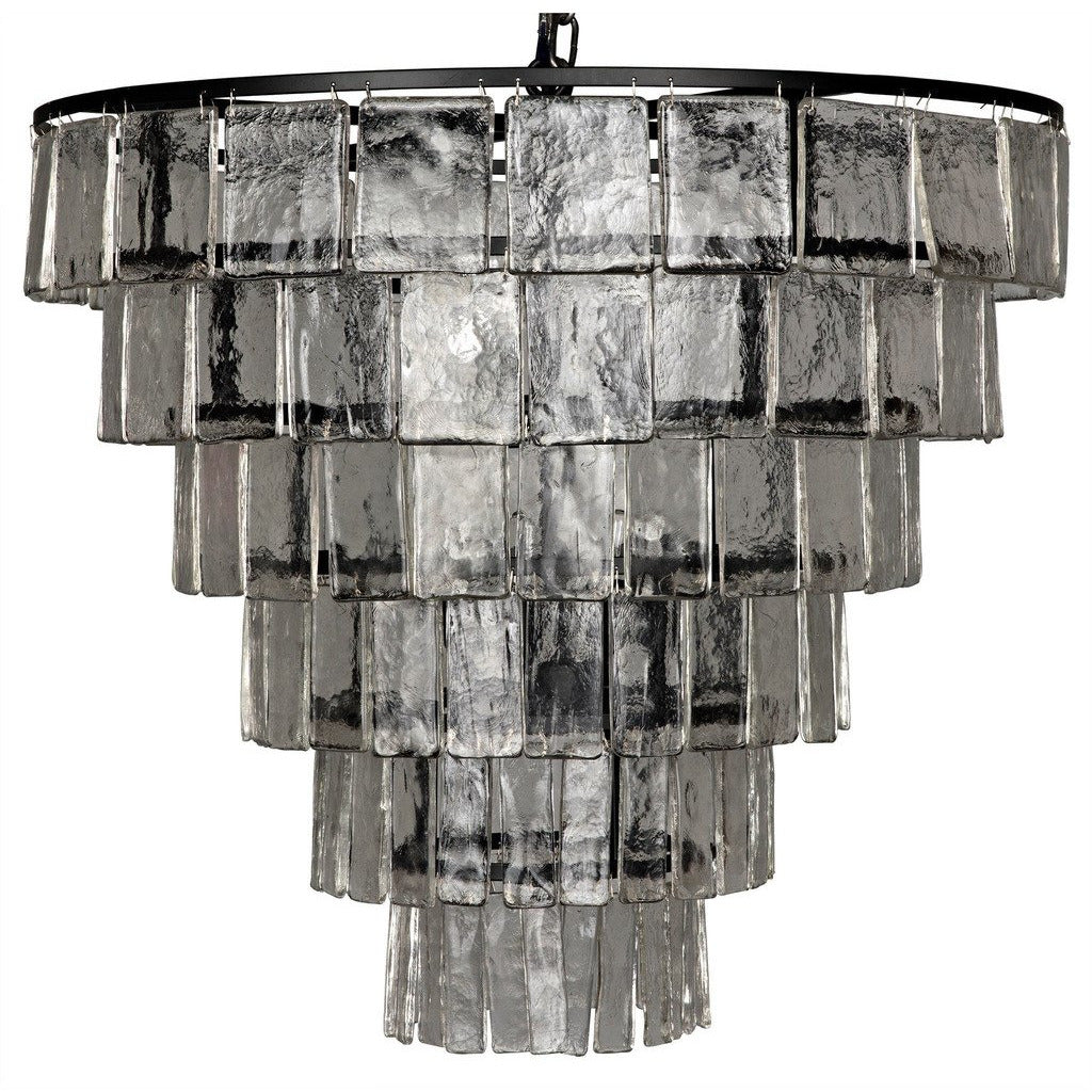 Noir Carnegie Chandelier, Large, Metal and Glass - Heaven's Gate Home & Garden