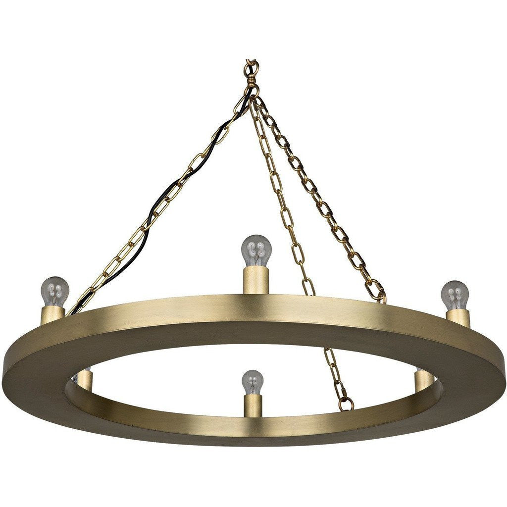Noir Ciro Chandelier, Antique Brass, 6-Bulbs-Chandeliers-Noir Furniture-Heaven's Gate Home