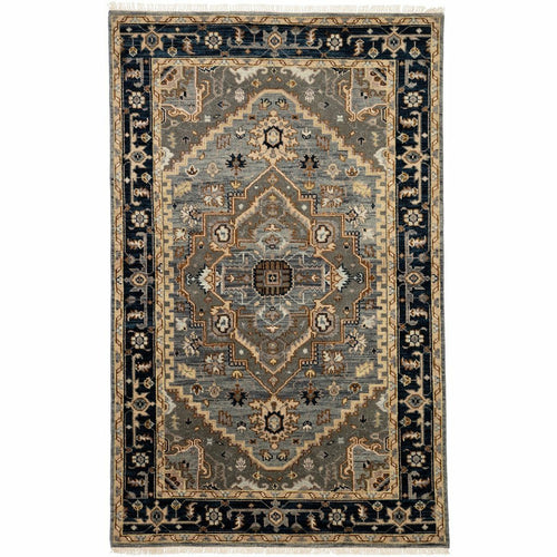 "Jaipur Living Liberty Andrews LIB04 Traditional Handmade Area Rug-Rugs-Jaipur Living-Gray-5'6""X8'-Heaven's Gate Home, LLC"