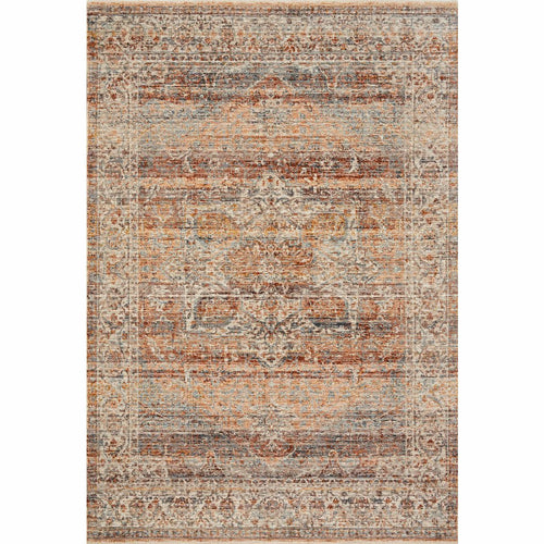 "Loloi Lourdes LOU-07 Traditional Power Loomed Area Rug-Rugs-Loloi-Coral-18"" x 18"" Sample-Heaven's Gate Home, LLC"