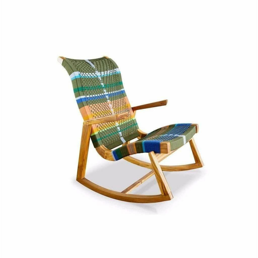 Masaya Amador Rocking Chair, Mot Mot Pattern-Rocking Chairs-Masaya & Co.-Teak-Heaven