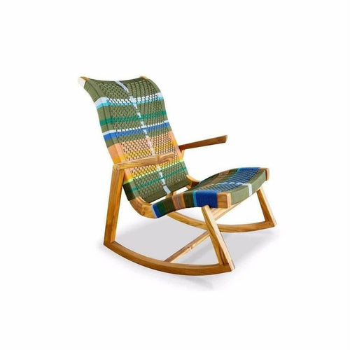 Masaya Amador Rocking Chair, Mot Mot Pattern-Rocking Chairs-Masaya & Co.-Teak-Heaven's Gate Home