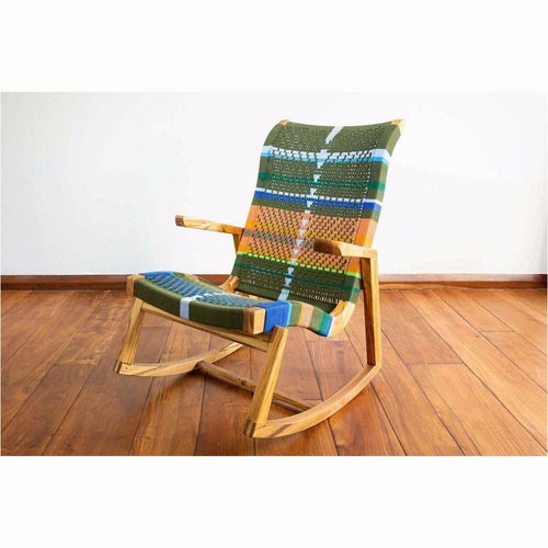 Masaya Amador Rocking Chair, Mot Mot Pattern-Rocking Chairs-Masaya & Co.-Heaven's Gate Home