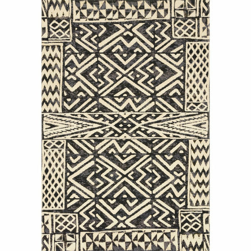 "Loloi Mika MIK-13 Indoor/Outdoor Power Loomed Area Rug-Rugs-Loloi-Black-1'-6"" x 1'-6"" Sample-Heaven's Gate Home, LLC"