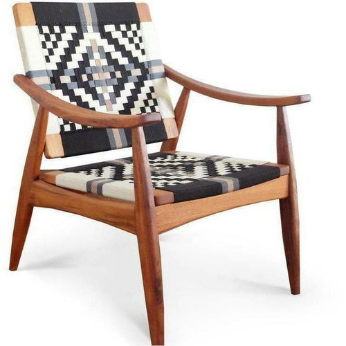 Masaya Izapa Arm Chair, Pattern Manila 1-Lounge Chairs-Masaya & Co.-Colonial Manila-Royal Mahogany-Heaven's Gate Home, LLC