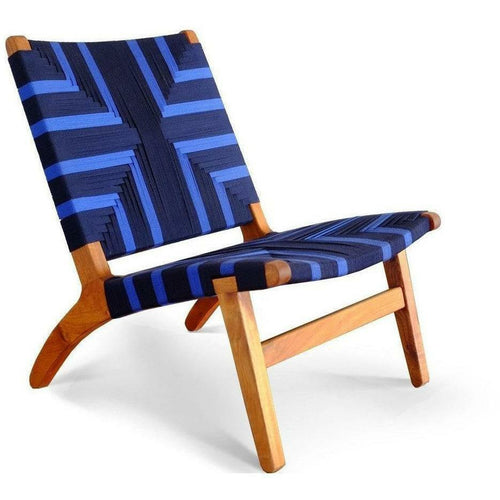 Masaya Lounge Chair, Midnight Blue Pattern-Lounge Chairs-Masaya & Co.-Royal Mahogany-Heaven's Gate Home, LLC