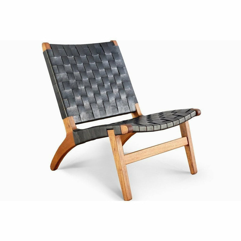 Masaya Lounge Chair, Leather/Royal Mahogany-Lounge Chairs-Masaya & Co.-Black Leather-Heaven's Gate Home