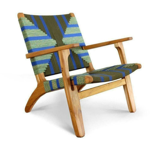 Masaya Arm Chair, Pattern Manila/Teak-Lounge Chairs-Masaya & Co.-Heaven's Gate Home, LLC