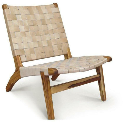 Masaya Lounge Chair, Leather/Teak-Lounge Chairs-Masaya & Co.-Natural Leather-Heaven's Gate Home, LLC