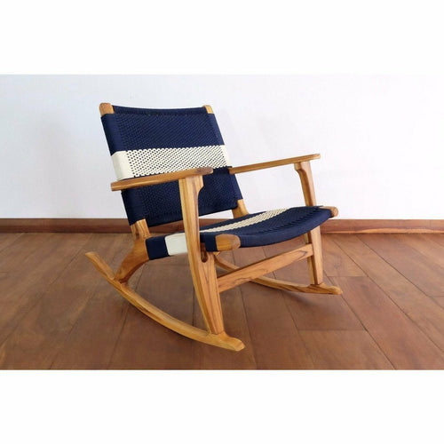 Masaya Rocking Chair, Navy & White Stripe Manila-Rocking Chairs-Masaya & Co.-Heaven's Gate Home