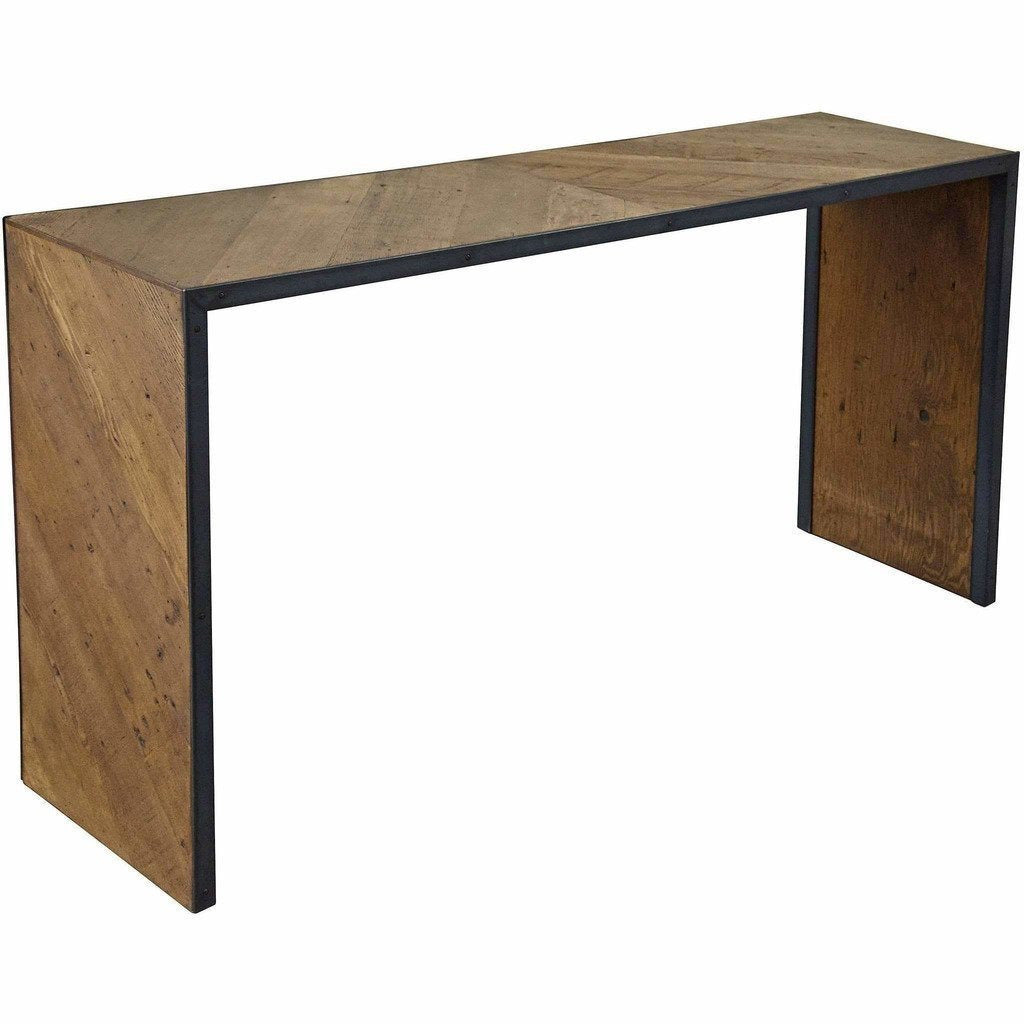 CFC Ayer Reclaimed Lumber/Steel Console Table, Brown *Quick Ship*-Console Tables-CFC-Heaven