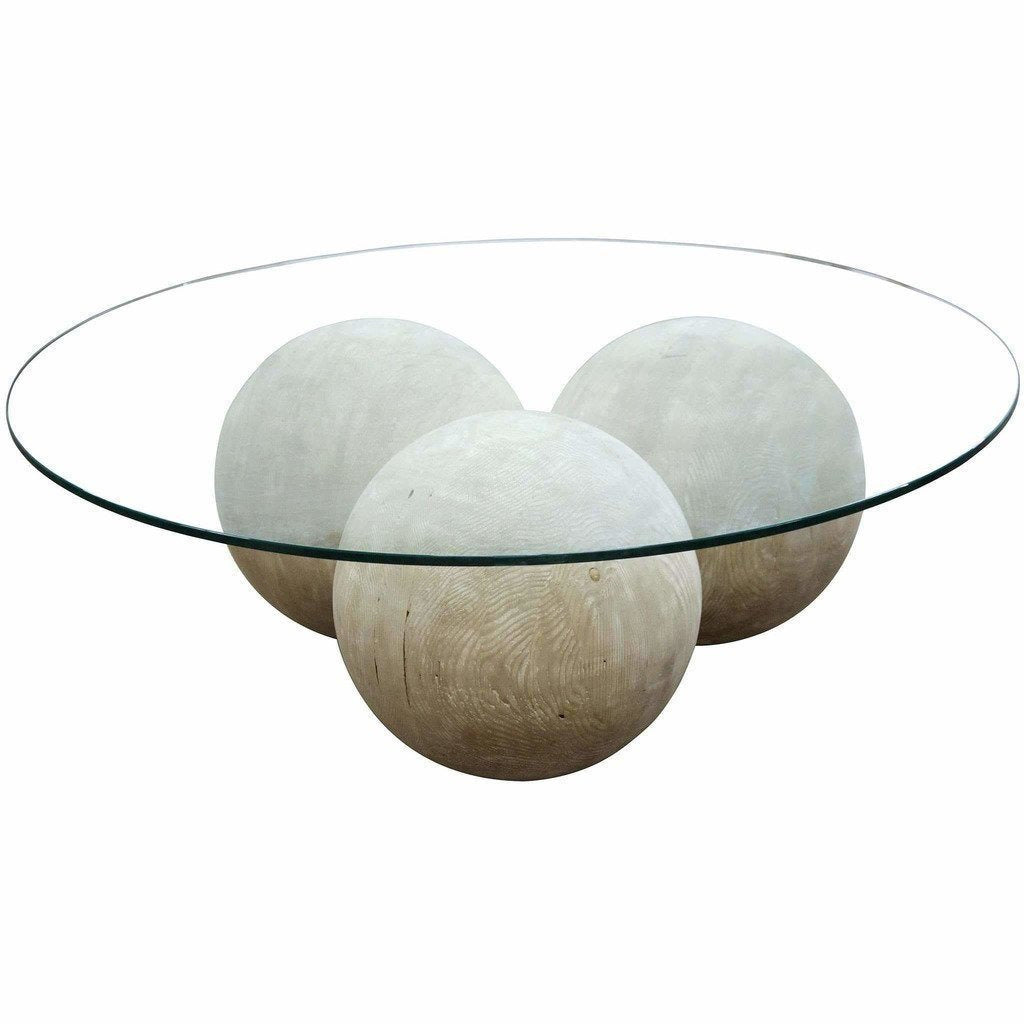 CFC Allium Reclaimed Lumber Coffee Table/Glass Top, Gray Wash *Quick Ship*-Coffee/Cocktail Tables-CFC-Heaven