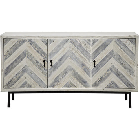 CFC Reclaimed Lumber Chevron Gray Sideboard, Small