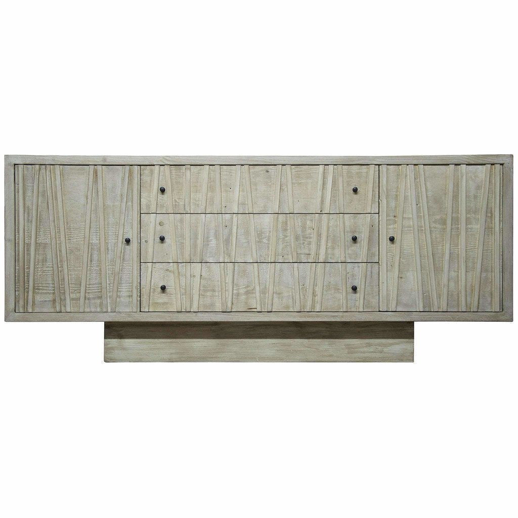 CFC Ranunculus 3-Drawer Reclaimed Lumber Sideboard, Gray Wash *Quick Ship*-Sideboards-CFC-Heaven
