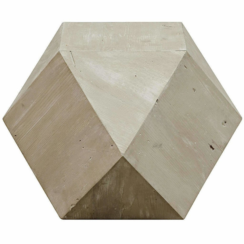 CFC Icosahedron Reclaimed Lumber Side Table, Gray Wash *Quick Ship*-Side Tables-CFC-Heaven's Gate Home