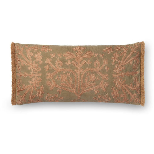 "Loloi P0522 Cotton Pillow-Pillows-Loloi-Khaki-12"" x 27"", Set/2-Cover Only-Heaven's Gate Home, LLC"