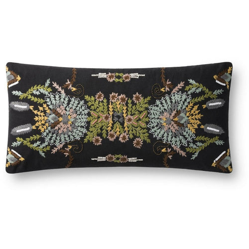 "Loloi P0826 Cotton Pillow-Pillows-Loloi-Black-12"" x 27"", Set/2-Cover Only-Heaven's Gate Home, LLC"