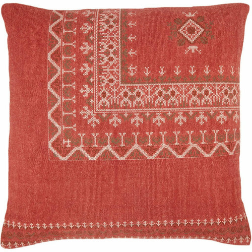 "Jaipur Living Abeni Puebla Red Pillow-Pillows-Jaipur Living-Red-24"" x 24""-Down-Heaven's Gate Home, LLC"