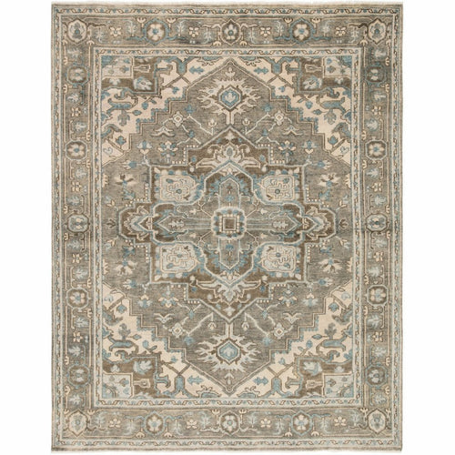Jaipur Living Salinas Flynn SLN07 Traditional Handmade Area Rug-Rugs-Jaipur Living-Gray-8'X10'-Heaven's Gate Home, LLC